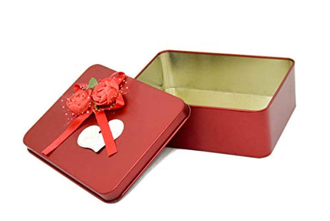 Red Velvet feels Metal/Tin - 1 pc - Red Rose Floral Multipurpose Utility Box for Home/Kitchen/Wedding/Casual Gift. LBH(cm) = 12x9x4