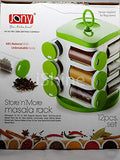 Jony Plastic Revolving Spice Rack Set - Set of 12 - Green