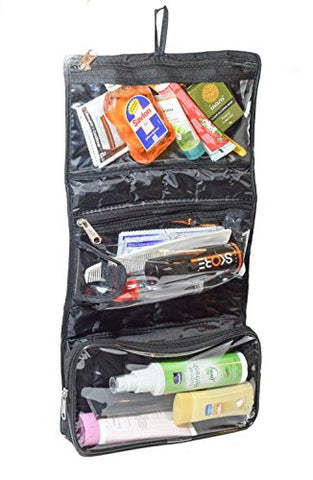 Mens Toiletry Bag stuffed with toothpaste toothbrush and other morning necessities
