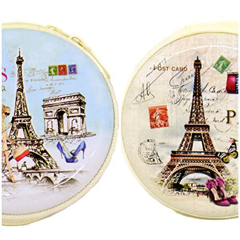 Paris/Charger Pouch/Coin Money Metal Case Pouch Round Shaped (8 cm Diameter) - Multi Color 2 pc