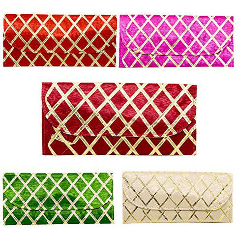 Multicolor Satin Finish Golden Gloss Lace Envelopes for wedding - SET OF 6 - Good Quality