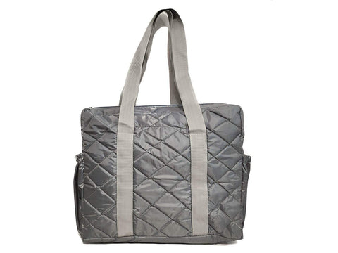 Women Waterproof Tote Bag Parachute Fabric Shoulder Bag Handbag Eco-Friendly with Zip with Inner Pocket. Large (Grey)