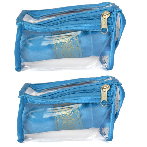 Satin premium Bangle Roll Pouch (Ferozi Blue, Small) 2 Pc