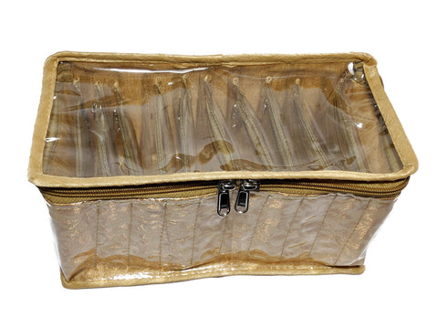 Bangle Jewellery Organizer 10 Clear Pouch Satin Fabric PVC Transparent (Gold)