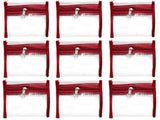 Bangle Jewellery Organizer 10 Clear Pouch Satin Fabric PVC Transparent (Maroon)