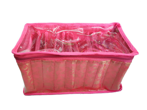 Bangle Jewellery Organizer 10 Clear Pouch Satin Fabric PVC Transparent (Pink)