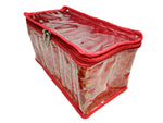 Bangle Jewellery Organizer 10 Clear Pouch Satin Fabric PVC Transparent (Red)