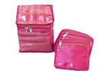 Jewellery Organizer with Multipurpose Pouch Satin Jute (12+ 1 Pouch, Pink)