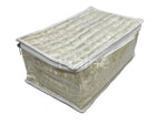 Satin Brocade Cosmetic Pouch Jewellery Organizer with 15 Pouches (Cream)