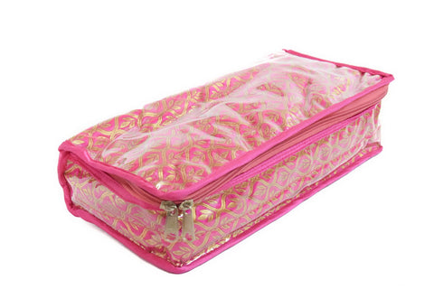 Locker Bangle Kangan Necklace Payal Organizer Jewelry Pouch Cosmetic kit (Pink)