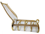 Multipurpose Transparent Cosmetic Jewellery Bangle Organiser 4 Sections 7 x 3.5 x 3 inch (Gold, Set of 2)