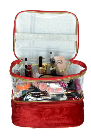 Makeup and Jewelry organizer Velvet Clear Pouch Storage Double Decker