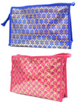 Multipurpose Morning Travel Cosmetic Medicines Make Up Pouch kit (Brocade - Blue)