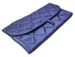Multi purpose Cosmetic Jewellery Hair Accessories Folding Foam Quilted Roll Pouch (Satin, Blue)