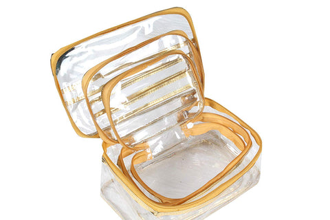 Travelling Kit Multi Purpose Utility Transparent Cosmetic Bag Toilet Organiser Medicine, Gold, Set of 3
