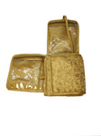 Jewellery Necklace Heavy organizer pouch folding cover wedding pattern pouch - (Medium, Gold)