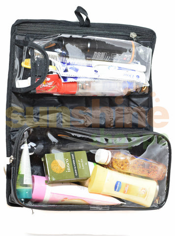 Travel Kit pouch Men Bag organizer n accessories bag 2 Tier (Parachute , Black)