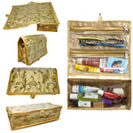 Multipurpose Travel Pouch Make up Bathroom toiletry Organizer Kit (Gold Jama Fabric)