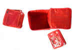 Jewellery Organizer with Multipurpose Pouch Satin Jute (12+ 1 Pouch, Red)