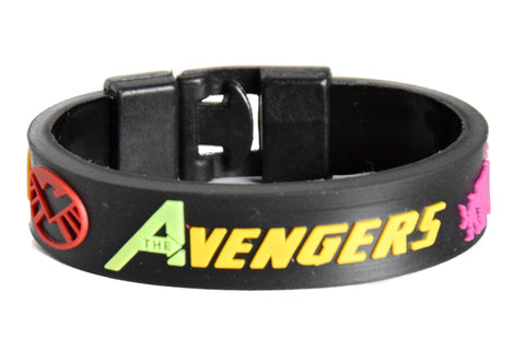Wristband 24 mm Silicone Rubber Lock Pattern Avengers colored