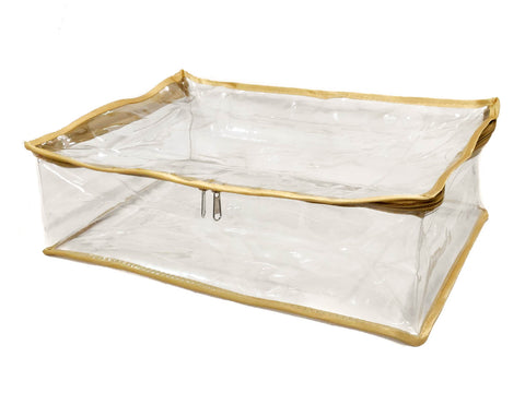 iShine PU Clear Transparent Peticoat Organiser Cover (Gold)