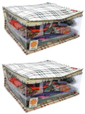 Clothes Storage Organiser Checks Pattern 15 Plus Capacity (Set of 2)