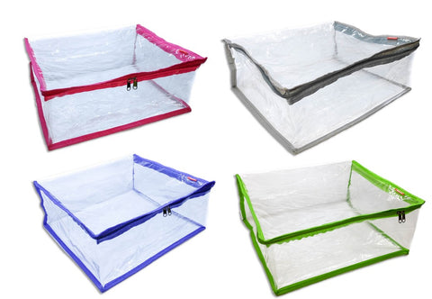 iShine Saree Pouch Clothes Storage Organiser Cover Transparent 15 Plus Capacity Set of 4