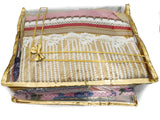 Saree Pouch Clothes Storage Organiser Cover Transparent 12 plus capacity Height 6 Inch - SET OF 3 (Gold)