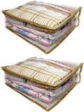 Saree Pouch Clothes Storage Organiser Cover Transparent 12 plus capacity Height 6 Inch - SET OF 4 (Gold)