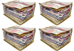 Saree Pouch Clothes Storage Organiser Cover Transparent 15 plus capacity Height 9 Inch - SET OF 2 (Gold)