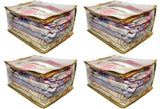 Saree Pouch Clothes Storage Organiser Cover Transparent 15 plus capacity Height 9 Inch - SET OF 4 (Gold)