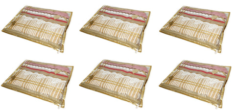 Saree Pouch Clothes Storage Organiser Cover Transparent - SET OF 6 (Gold)