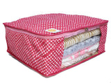 Wardrobe Storage Organiser Cover Dot Pattern 15 plus capacity Cotton (Maroon, Set of 3)