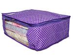 Wardrobe Storage Organiser Cover Dot Pattern 15 plus capacity Cotton (Violet, Set of 3)