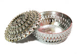Decorative Textured Chrome Bowl with Lid - 2 pc