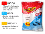 Caustic Soda Lab Chem Unclog Unblock degrease melt waste drain cleaner (1000gm, White)