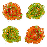 Leaf Handmade Earthen Clay Terracotta Decorative Diyas Oil Lamps (Multicolor) - Set of 4