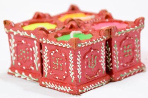 TULSI Handmade Earthen Clay Terracotta Decorative Diyas - Set of 8