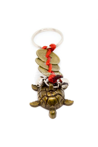 Good Luck Turtle and Coins Feng Shui Keychain - 2 Pc