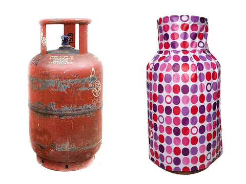 KITCHEN LPG GAS CYLINDER COVER PVC GLOSSY MATERIAL Top Quality (Checks, Brown)