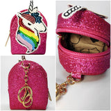 Glitter Coin Pouch Key-chain - Unicorn Rainbow(Assorted, Set of 1)