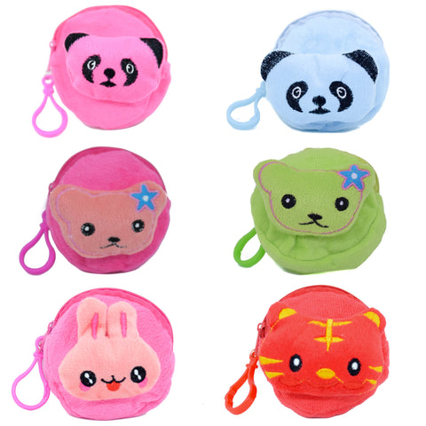 Soft Cushion Coin Money Purse Toy Key Chain Ring Various Characters - Various Colors - 2 pc