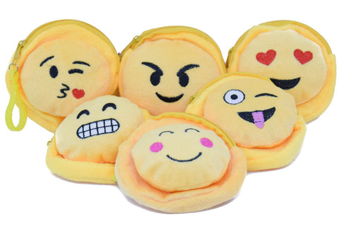 Soft Cushion Coin Money Purse Toy Key Chain Ring Various Smiley Characters - 2 pc