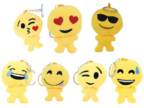 Soft Cushion Toy Key Chain Ring Various Smiley Whole Characters - 2 pc