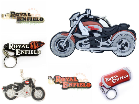 Royal Enfield Bike Key Chain Rings - Various Designs - 2 pc