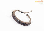 Designer Fashion Stylish Leatherette Punk Bracelet UNISEX - Intern Woven Brown