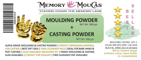 Memory MOUCAS 3D Newborn Baby and Toddler Molding Powder Casting Kit for Hand and Foot Cast (2 to 6 yr (1kg))