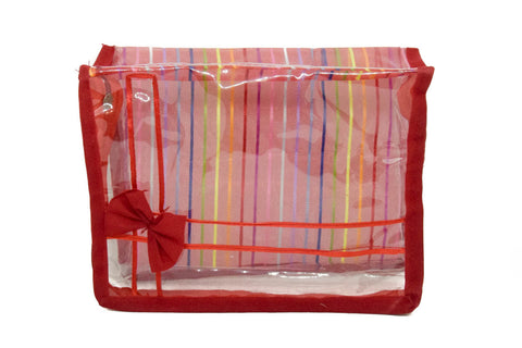 PVC Transparent Clear Multi-Purpose Organizer Makeup Pouches Utility Bag Set for Women (Red) Pack of 3