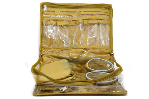 Make up Jewellery Organiser Bangle Cosmetic Pouch Travel bag kit (Gold)