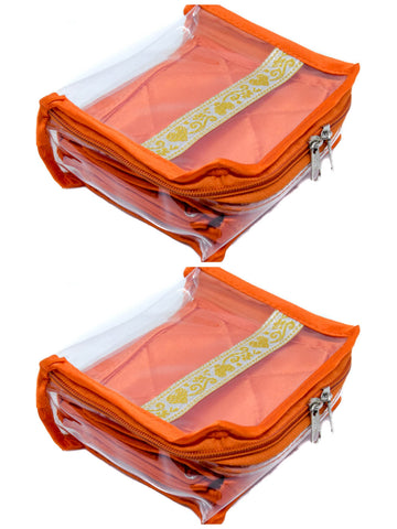Compact Jewelery Medicine Transparent Pouch Orange Set of 2